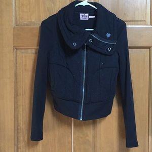 Juicy Couture black cotton crop bomber jacket